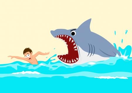 Cartoon illustratie van een man die het vermijden van aanvallen van haaien
