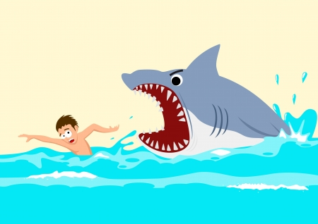 Cartoon illustration of a man avoiding shark attacks  Ilustração