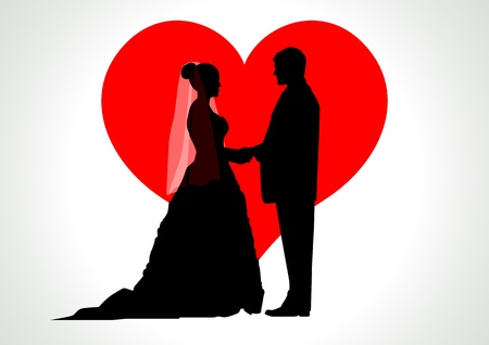 Silhouette illustration of a bride and groom with heart symbol as the background  Vector