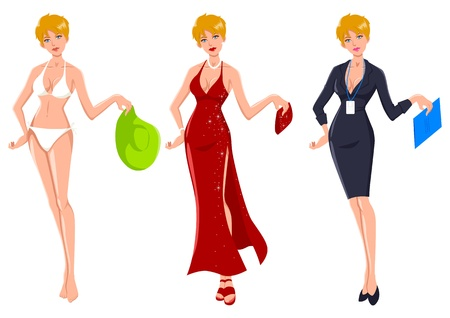 Cartoon illustration of an attractive blond woman dress up for three different occasions