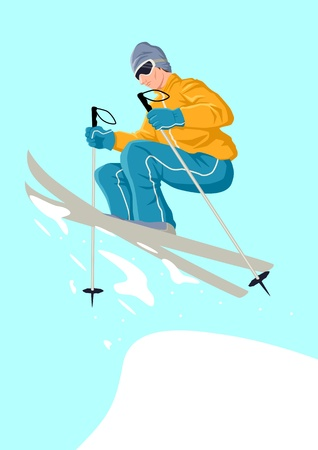 downhill skiing: illustration of a skier