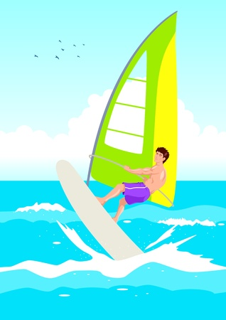 windsurf: Vector illustration of a wind surfer