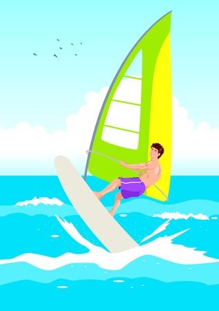 Vector illustration of a wind surfer  Vector