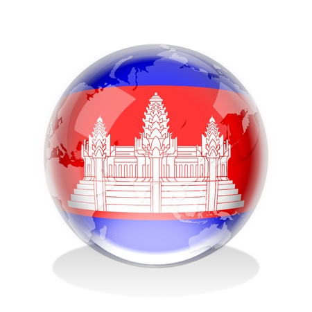 cambodia: Crystal sphere of Cambodia flag with world map
