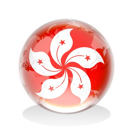 maps globes and flags: Crystal sphere of Hong Kong flag with world map