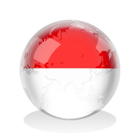 maps globes and flags: Crystal sphere of Indonesia or Monaco flag with world map