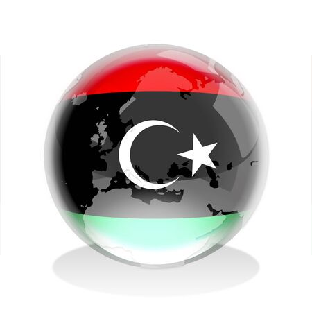 libyan: Crystal sphere of Libyan flag with world map  Stock Photo