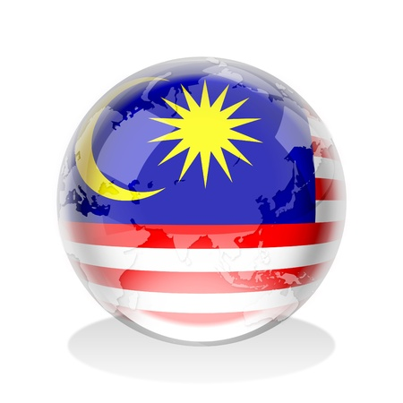 Crystal sphere of Malaysia flag with world map  photo