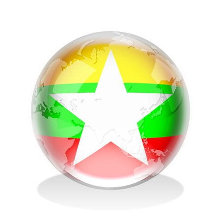 myanmar: Crystal sphere of Myanmar flag with world map  Stock Photo