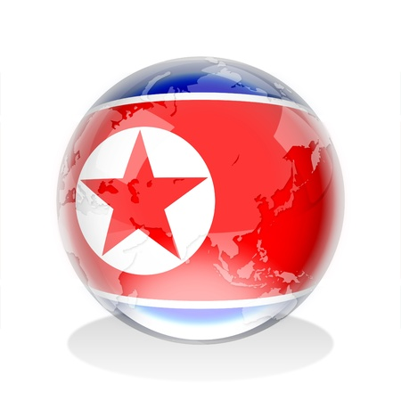 Crystal sphere of North Korea flag with world map  Stock Photo - 12930112