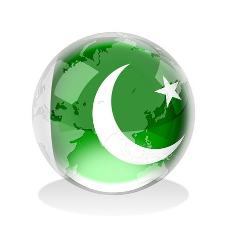 파키스탄: 세계지도와 파키스탄의 국기의 크리스탈 구 스톡 사진