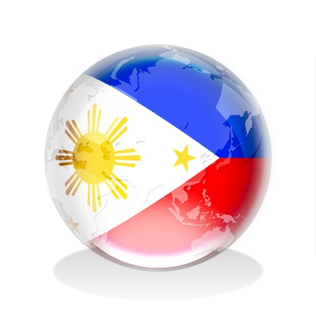 Crystal sphere of Philippines flag with world map  Stock Photo