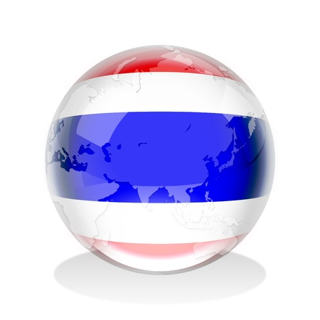 thailand symbol: Crystal sphere of Thailand flag with world map  Stock Photo