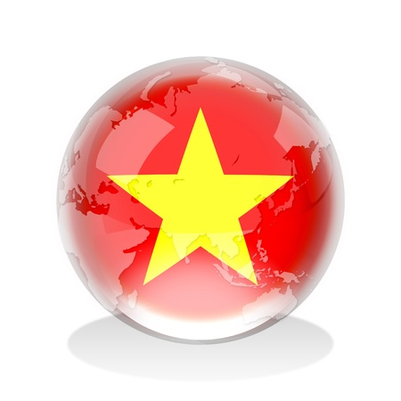 Crystal sphere of Vietnam flag with world map  photo