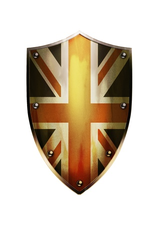 The shield of United Kingdom flag with rustic effect  Stock Photo