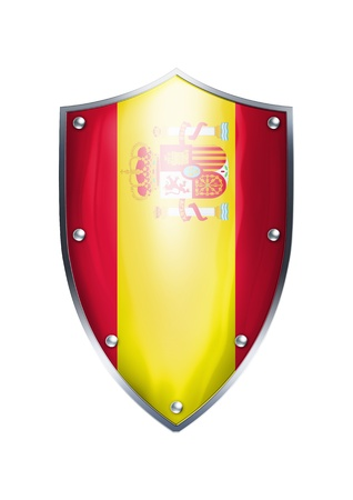 spanish flag: The shield of Spanish flag  Stock Photo