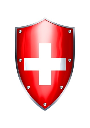 swiss flag: The shield of Switzerland flag