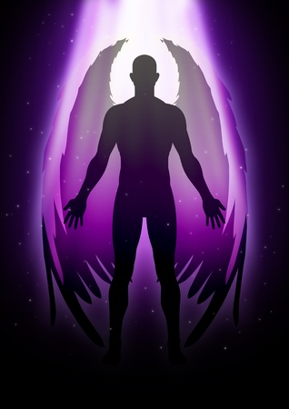 heavenly light: Illustration of an angel figure