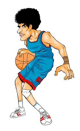 frizzy: Cartoon illustration of a basketball player  Stock Photo
