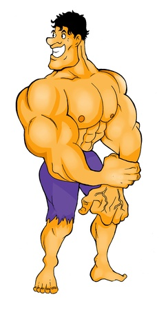 Cartoon illustration of a muscular man figure  illustration