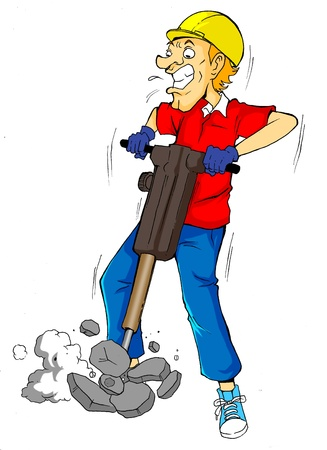 labor strong: Cartoon illustration of a man drilling  Stock Photo