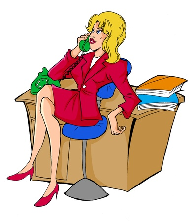 caricature woman: Illustration of a woman figure having a phone call