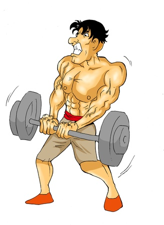 Caricature of a muscular male figure doing weightlifting Stock Photo - 12930130