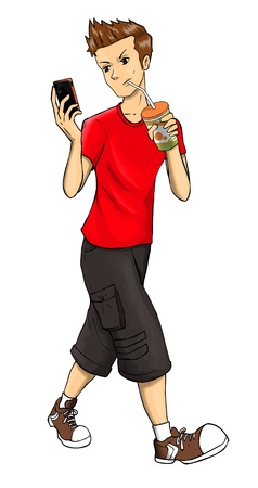 texting: Cartoon illustration of a teenager holding a cellular phone