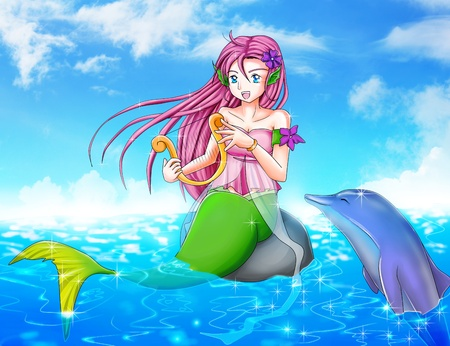 ojos anime: Cartoon ilustraci�n de una sirena con un delf�n