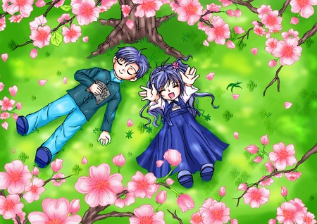 anime young: Cartoon illustration of boy and girl lying on grass