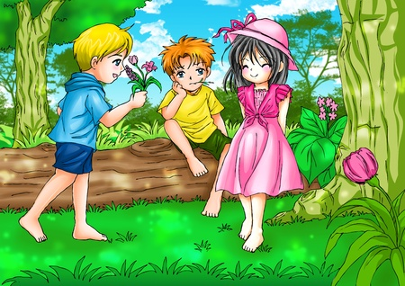 beautiful anime: Cartoon illustration of two boys with a girl  Stock Photo