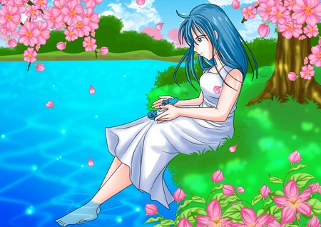 beautiful anime: Cartoon illustration of a girl sitting near the river