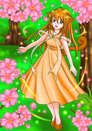 beautiful anime: Cartoon illustration of a girl in springtime