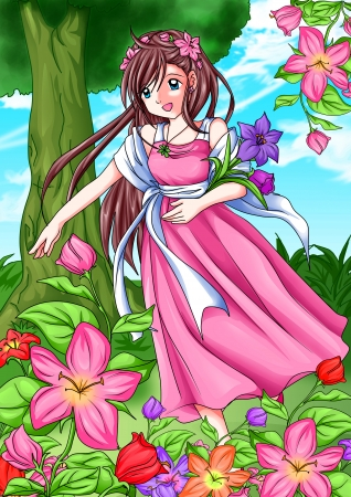 beautiful anime: Cartoon illustration of a girl picking the flowers  Stock Photo