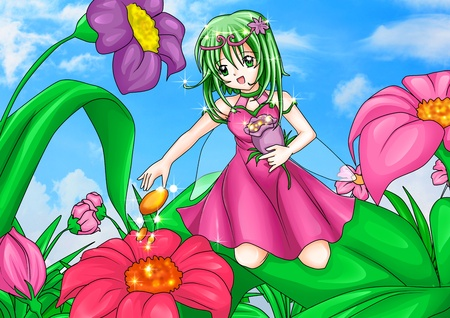 fairytale character: Cartoon illustration of a pixie sitting on leaves