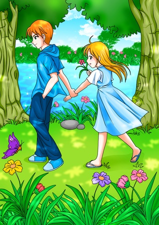 teenagers love: Cartoon illustration of teen couple walking in the garden  Stock Photo