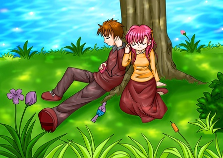 Cartoon illustration of a couple sitting under the tree  illustration