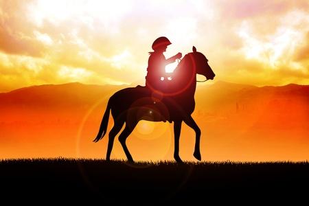 uomo a cavallo: Illustrazione Silhouette di un cowboy a cavallo durante il tramonto Archivio Fotografico