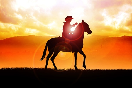 Silhouette illustration of a cowboy riding a horse during sunset Stock Illustration - 12930143