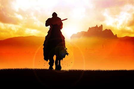 caballero medieval: Silueta ilustraci�n de un caballero armado con una lanza