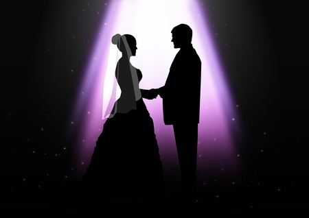effects of lighting: Silhouette illustration of a bride and groom under the light