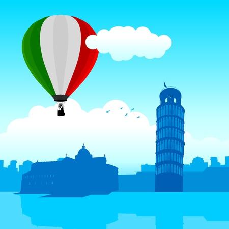 Vector illustration of Pisa skyline with Italian flag air balloon  Illustration