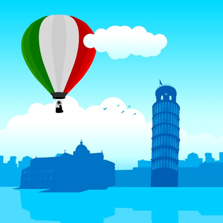 Vector illustration of Pisa skyline with Italian flag air balloon  Illustration