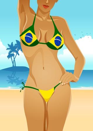 breast comic: Brazilian flag bikini