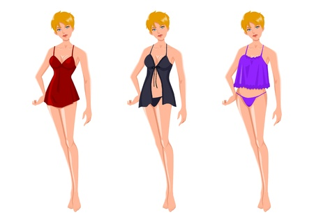 Cartoon illustration of an attractive blond woman in three different lingerie Illustration