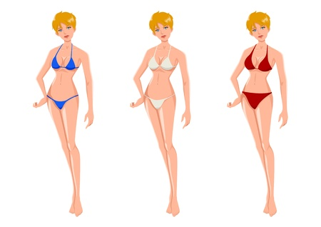 micro: Cartoon illustration of an attractive blond woman wearing three different bikinis
