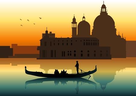 Silueta ilustrace lidí na gondole v Benátkách Ilustrace