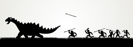 primitive: Cartoon figures chasing a dinosaur  Illustration