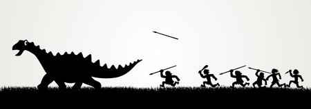 caveman: Figuras de dibujos animados que persiguen un dinosaurio