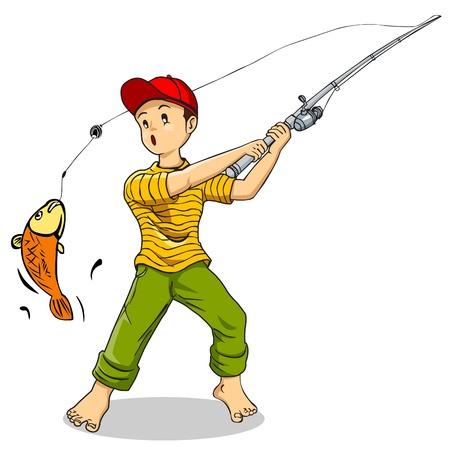 karikatuur: Cartoon illustratie van een jongen vissen Stock Illustratie